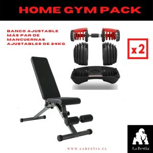 Home Gym Pack (Par de Mancuernas Regulables + Banco Ajustable)